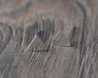 Silver Triangle Stud Earrings - Sterling Silver