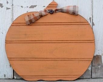 "10"" Rustic Wood Fall Pumpkin. Fall Decor."