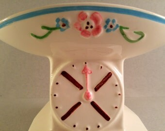 Vintage Ceramic Baby Scale Planter. Baby Shower Gift and Decor. Nursery Decor.