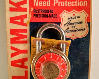 New Unopened Stock Vintage Slaymaker Padlock with Red Combination Dial.