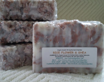 Rice Flower & Shea Organic 100% Coconut Oil Soap Bar - 5-6oz. Each