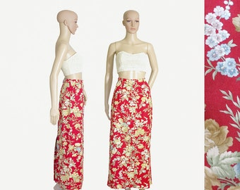 pencil skirt maxi red floral pencil skirt 90s 1990s vintage long linen ORVIS red flowers roses front buttons back slit size womens SMALL