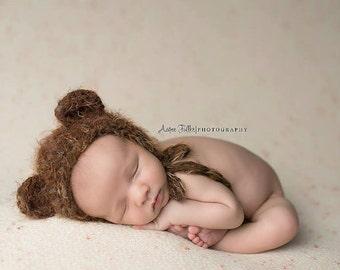 PDF Crochet Pattern Fuzzy Bear Bonnet Hat, Newborn, 6-12 Months