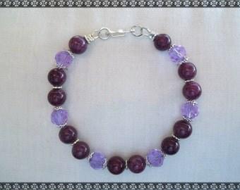 purple bracelet, dark purple, light purple, purple crystal,crystal bracelet