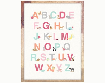 Alphabet Art Print Poster / Pink Alphabet Print / ABC Print / Art For Girls Room