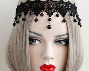 Mysterious Vintage Black Lace Pearl Hair Band  Hair Accessories Halloween Decoration FD-200156