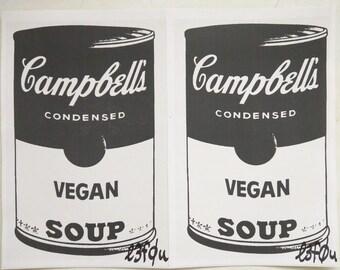 "2 Stickers Vegan Soup Grey Warhol Pop Art Autographed l3f0u 5.5"" x 8.5"""