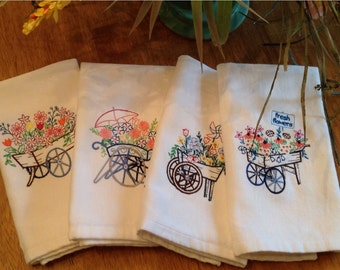 Cloth Embroidered Napkins, Set of 4 Table Napkins With Flowers, Flower Carts