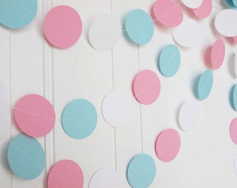 Party Paper Garland, Circle Garland, Gender Neutral Reveal Baby Shower, Baby Blue Pink & White, Party Decoration, Baby Shower  12'