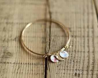 Double Strand Photo Charm Bracelet, Gold Filled & Sterling Silver