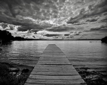 Dark Clouds - Wisconsin Lake Pier - Black and White Photo Print - Photography - Photograph
