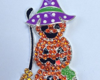 46mm Orange Stacked Pumpkins Witch Hat Broomstick Rhinestone Pendant Chunky Necklace Beads