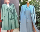 Classic 40s Wedding Suit & Coat. Vintage Sky Blue Wool . Hand Tailored Blanket Stitch Jacket / Coat Accent . Rare WW2 Laced Skirt Closure .