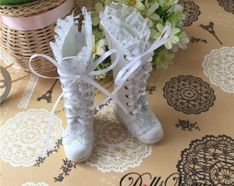 1/4 1/3 BJD Dollfie MSD Doll shoes Long Boots White Lace Boots DV1-005