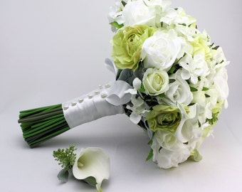 White and Green Bridal Bouquet with Groom's Buttonhole - White Rose Bride's Bouquet, Silk Flower Country Chic Bridal Bouquet