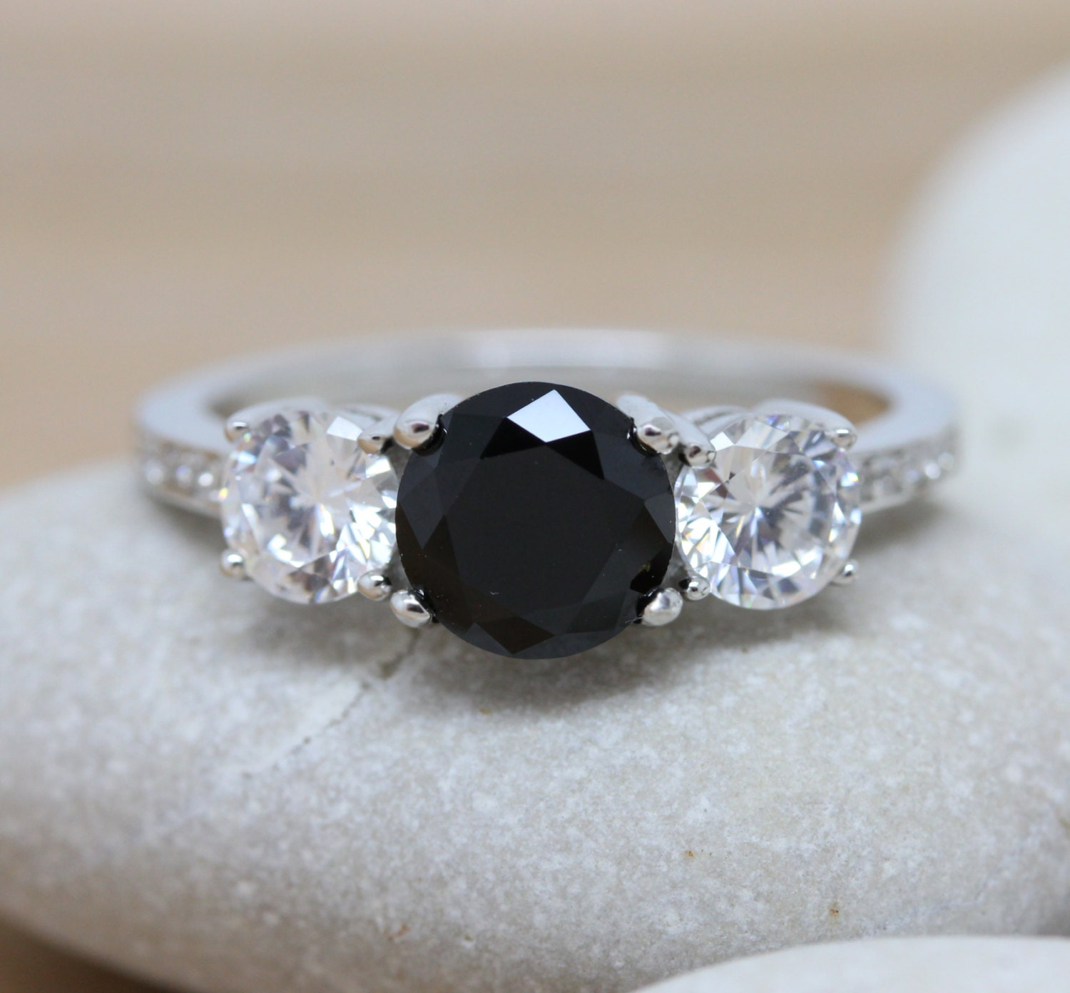 Black Diamond And Lab Diamond Solid Sterling Silver Trilogy 3