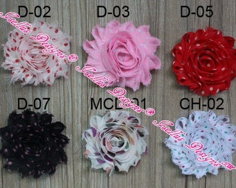 """2.5"""" Pink with white dots  Shabby Flowers D-03 In Photo"""