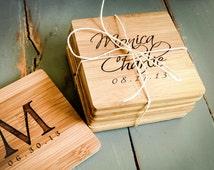 4 Custom Engraved Bamboo Coasters, Personalized Coasters, Custom Coasters: Wedding Shower, Housewarming Gift, New Couple