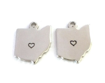 2x Silver Plated Ohio State Charms w/ Hearts - M070/H-OH