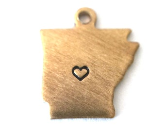 2x Brass Arkansas State Charms w/ Hearts - M073/H-AR