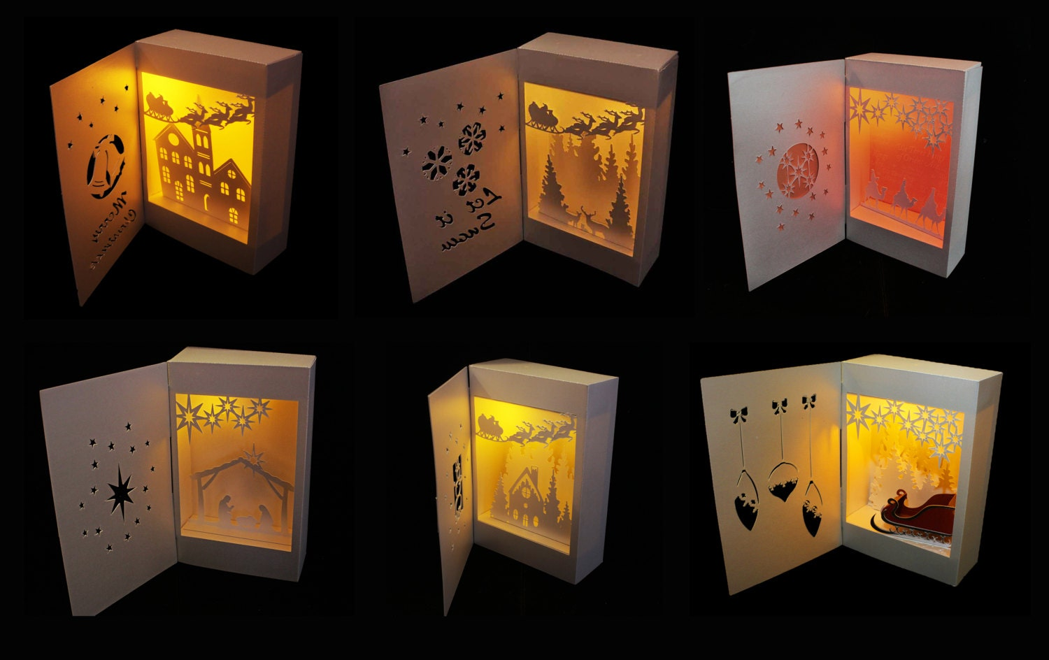 Christmas Collection Bundle set of 6 Shadow Box Lanterns