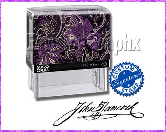 Custom Personalized Signature Self Inking Rubber Stamp Paisley Theme