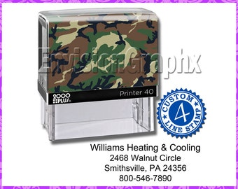 Custom Personalized 4 Line Address / Message Self Inking Rubber Stamp Camouflage Theme