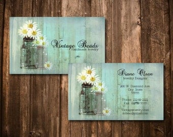 digital mason jars and daisies business card premade wood textured vintage rustic