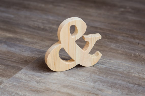 Unfinished wood Ampersant.  Extraordinary gift idea. DIY ready for paint. Home Decor alphabet. Natural wood letter + option