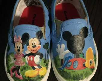 Mickey Mouse Club House Painted Canvas Shoes
