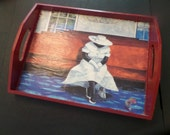 Vintage Decoupage Decorative Serving Tray African American Art