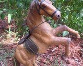 Vintage Leather Wrapped Horse Statue Collectable Equestrian Figure With Leather Saddle