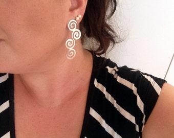 Spiral Earrings - Spiral Silver Earrings -Long Spiral Earrings