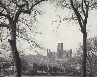Durham Cathedral, 1950s vintage Print B & W photograph Vintage old print