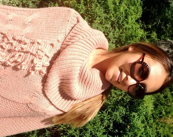 Poncho top,Large ,Knit Poncho, Peach, Cowl Neck ,Soft ,Fringed