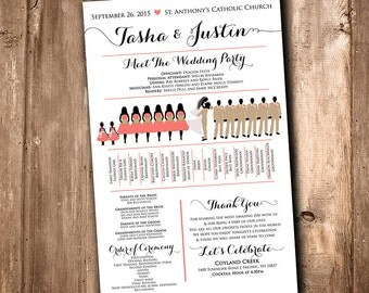wedding silhouette program wedding party silhouette meet the bridal party silhouette wedding program fan printable