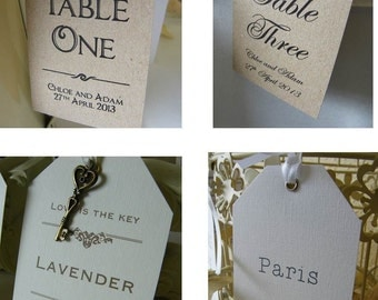 Wedding Table Number/Name Personalised Tags-Vintage-Brown Kraft/Ivory/White/Keys
