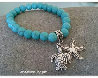 Turquoise Charm Bracelet with Silver Starfish and Turtle Charms