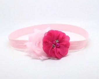 Hot Pink and pink Headband, Pink Headband, Pink Flower Girl Headband, Pink Birthday Headband, Pink flower headband, Pink clip