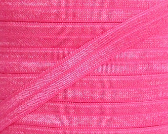 Neon Pink Fold Over Elastic - Elastic For Baby Headbands and Hair Ties - 5 Yards of 3/8 inch FOE