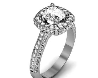 Palladium Cushion-Cut Diamond Engagement Ring 1.15ct. tw.