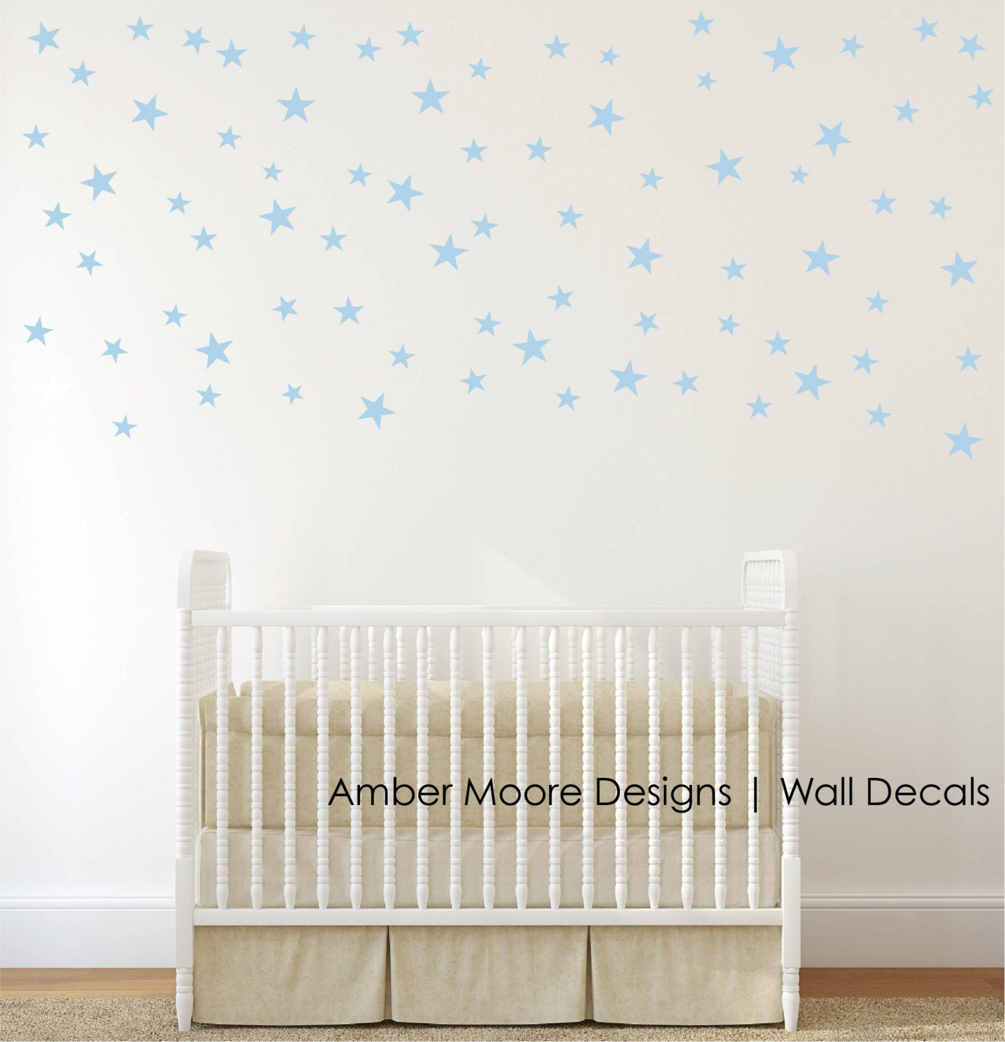 Silver stars wall decals confetti silver by ambermooredesigns for Stickers habitacion bebe