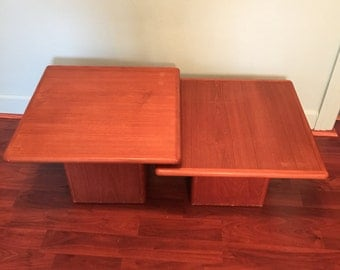 Vintage Danish Modern Teak Pedestal Tables by Sannemann