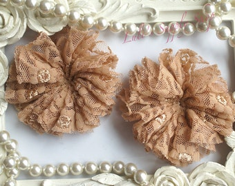 "Set of 2 TAN - 3"" Unfinished Lace Ballerina Flowers - Lace Ballerina Flowers - Unfinished Flowers - DIY Headbands Supply"