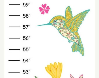 ON SALE Personalized Hummingbirds Canvas Growth Chart