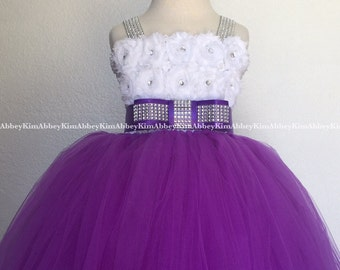 Flower girl tutu dress purple white shabby bling straps