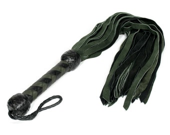 Dark Green and Black Suede Flogger - Amazing and well balanced for BDSM enthusiasts