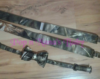 Satin Real Tree Advantage Max 4 Camo Baby and Toddler Suspenders and Bow Tie