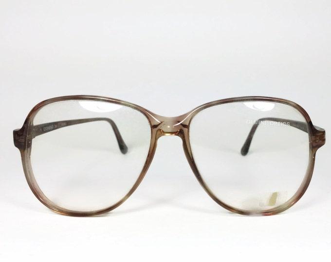 Vintage 80s Glasses | Round Clear Brown Eyeglass Frame with Demo Lenses | NOS 1980s Eyeglasses - Quasar