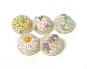 Set of 5 Embroidery Sewing Quilting Vintage Fabric Covered Buttons 20mm 0.8""
